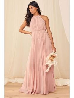 True Adoration Blush Sleeveless Pleated Maxi Dress