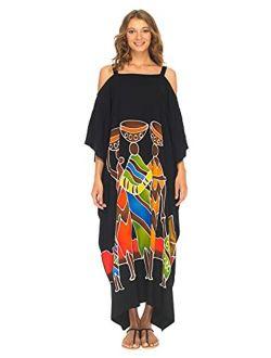 SHU-SHI Womens Kaftan Maxi Dress Cold Shoulder Casual Long Beach Cover Up Plus Size Caftan