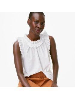 Women's Solid White Ruffle-trim Cotton-poplin Top