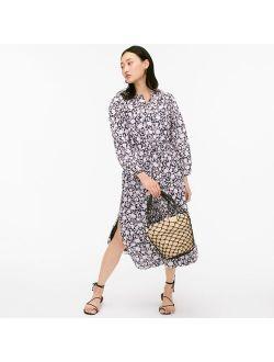 Tie-waist Cotton Voile Midi Dress In Rose Vines