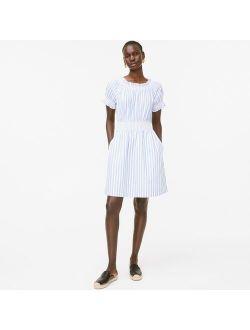 Smocked Puff-sleeve Cotton Poplin Dress In Stripe
