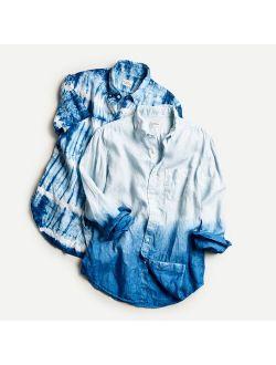 Short-sleeve Linen Shirt In Tie-dye