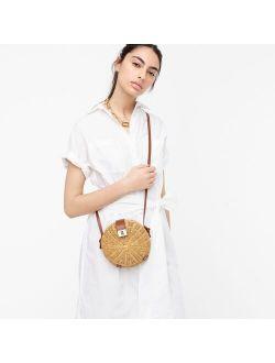Round rattan crossbody bag