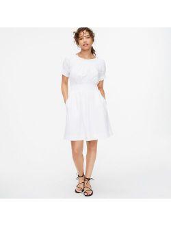 Smocked puff-sleeve cotton poplin dress