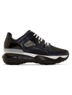 Navy Python Fancy Lace-Up Sneakers