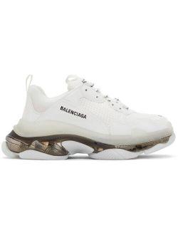 White & Black Clear Sole Triple S Sneakers