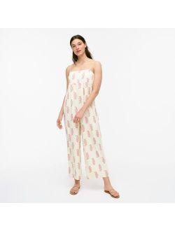 Silk wide-leg jumpsuit in budding branch print