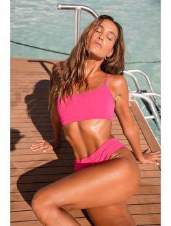 Light It Up Hot Pink One Shoulder Bikini Top