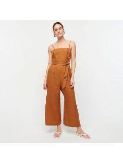 Tie-waist linen jumpsuit
