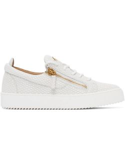 White Croc Frankie Lace Up Sneakers