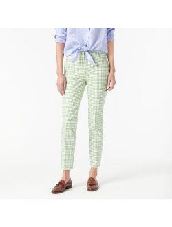 Cameron bi-stretch cotton pant in green gingham