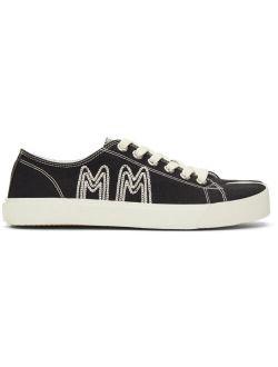 Maison Margiela Black Canvas Embroidery Tabi Sneakers