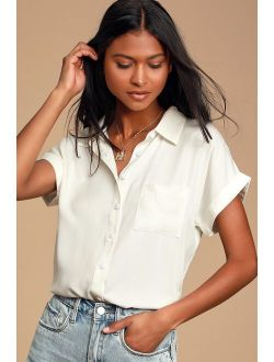 Blythe White Short Sleeve Button-Up Top