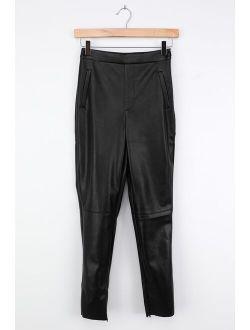 Keep Your Stride Black Vegan Leather Trouser Leggings