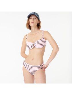Scrunchie ring bandeau bikini top in stripe