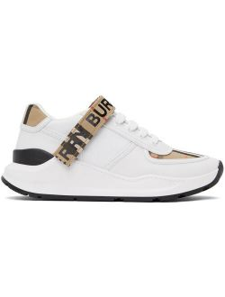 White & Beige Ronnie M Lace Up Sneakers