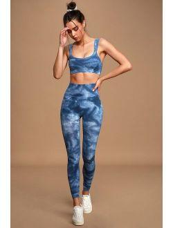 Good Karma Blue Tie-Dye High-Rise Leggings