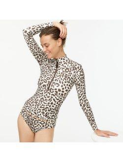 Long-sleeve rash guard in leopard