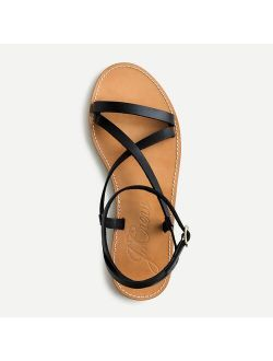 Flat strappy sandals in vachetta leather