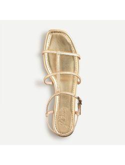 Abbie double T-strap sandals in metallic