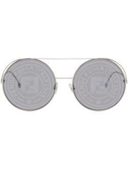 Silver Round Logo Aviator Sunglasses