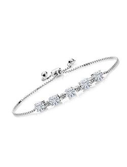 925 Sterling Silver Tennis Bracelet Forever Brilliant (GHI) Round 2.50ct (DEW) Created Moissanite by Charles & Colvard and Diamond