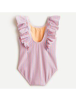 Girls' ruffle-trim one-piece swimsuit in seersucker