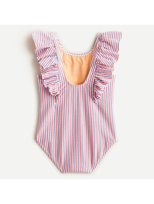 J.Crew Girls' ruffle-trim one-piece swimsuit in seersucker