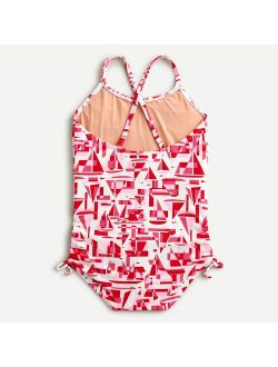Girls' side-tie detail one-piece swimsuit