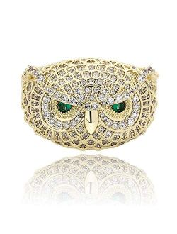 TOPGRILLZ 14K Gold or White Gold 6 Times Plated Owl Hip Hop Iced Out Lab Diamond 5A CZ Bling Fashion Ring for Men and Women Boys Jewelry Gift