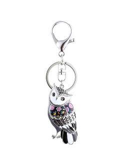 Luckeyui Unique Owl Keychain for Women Colorful Enamel Cute Animal Keyring