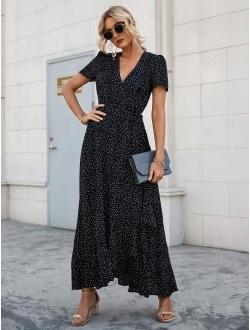 Women's Summer Wrap Maxi Dress Casual Boho Floral V Neck Short Sleeve Ruffle Hem Split Beach Long Dresses