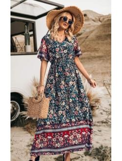 Women's Casual Floral Print V Neck Short Sleeve Summer Boho Beach Dress High Waist Long Maxi Dresses