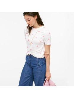 Linen crewneck T-shirt in happy dots