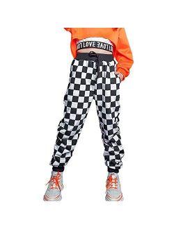 Rolanko Girls' Jogger Pants Drawstring Active Kids Sweatpants with Pocket Hip Hop Streetwear Trousers