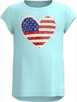 Girls' Pre-School UA Americana Heart Short Sleeve