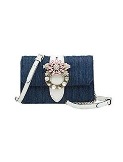 Miu Miu Madras Blue Denim White Leather Rhinestone Crossbody 5bh077