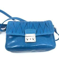 Miu Miu Bandoliera Blue Matelasse Lux Leather Crossbody Bag 5bh088