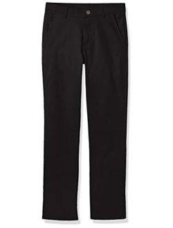 Boys' Flat Front Stretch Twill Chino Khaki Pant