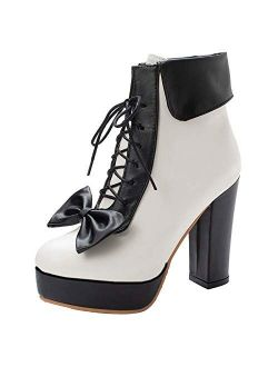 AbbyAnne Women Sweet Lolita Boots Chunky Heel Platform Shoes