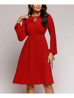 1001 Dress Marsala Tie-Keyhole A-Line Dress - Women