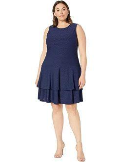Plus Size Floral Jacquard Sleeveless Dress