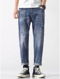 Men Zipper Fly Ripped Detail Jeans