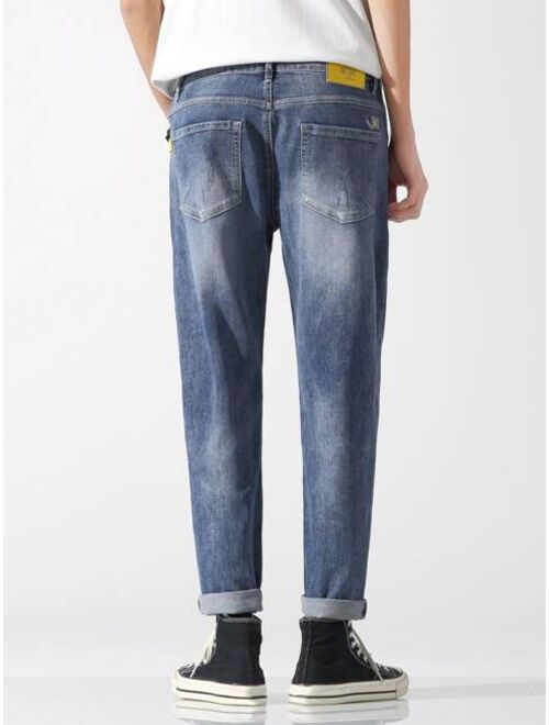 Shein Men Zipper Fly Ripped Detail Jeans