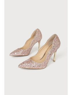 Jewel by Badgley Mischka Riley II Rose Glitter Pointed-Toe Pumps