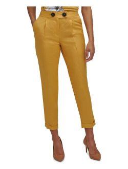 Petite Slim-Fit Button-Front Ankle Pants