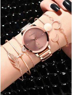 1pc Round Pointer Quartz Watch & 5pcs Bracelet