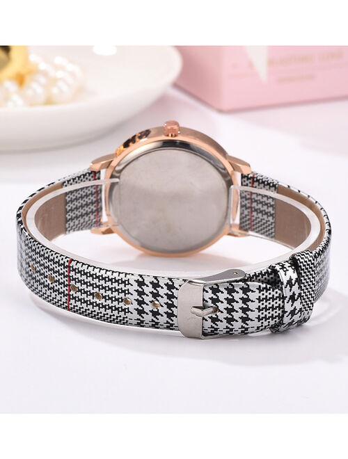 Don't AsK White & Rose Goldtone Houndstooth Bracelet Watch