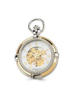 "Sonia Jewels Charles Hubert Gold Men's Finish 2-Tone Brass 2-Photo Insert Pocket Watch 14.5"""