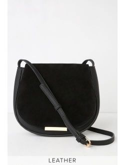 Set the Trend Black Suede Leather Purse